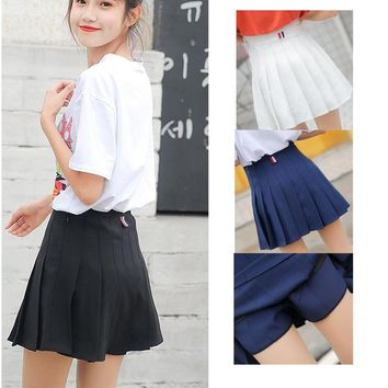 Harajuku Women Skirt Preppy Style Pleat Skirts Mini Cute Japanese School Uniforms Saia Faldas Ladies Jupe Kawaii Skirt SK5202