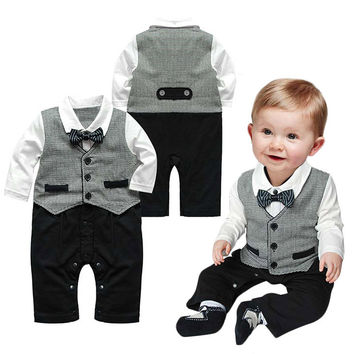 Cute Baby Boy Kids Children's Suits Toddler Bowknot Long Sleeve Boys Romper Jumpsuit Clothes