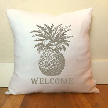 Pineapple Welcome Pillow Cover - Housewarming Gift, Wedding Gift