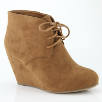 Sally Lace Up Wedge: Camel