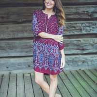 Temple Dress in Burgundy