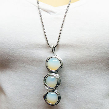 Long Pendant, White Silver Necklace, Layer Pendant, White Opal Jewelry, Wire Wrapped Stone, Large Necklace, Opal Jewelry, Statement Necklace