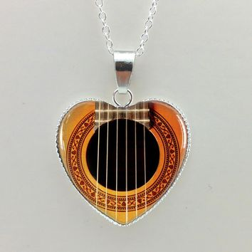 New Girls Glass Cabochon Necklace Guitar Sound Hole Pendant Music Necklace Silver Heart Shaped Necklaces HZ3