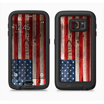 The Wooden Grungy American Flag Full Body Samsung Galaxy S6 LifeProof Fre Case Skin Kit