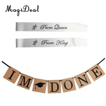 Vintage Graduation Party 3 m I'm Done Cap Bunting Banner Hanging Decoration Graduation Homecoming Prom Queen King Sashes