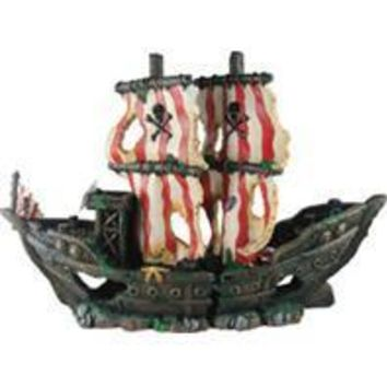 Poppy Pet - Sunken Pirate Ship With Red/white Sails
