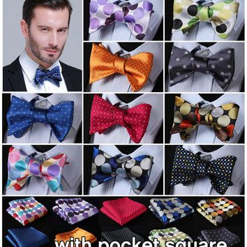 Polka Dot 100%Silk Jacquard Woven Men Butterfly Self Bow Tie BowTie Pocket Square Handkerchief Hanky Suit Set #B3