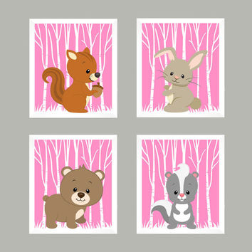 Forest Animals on Pink, Woodland Animals, CUSTOMIZE COLORS, 8x10 Prints, set of 4, Nursery Decor, Animal Print, Baby Girl Wall Prints