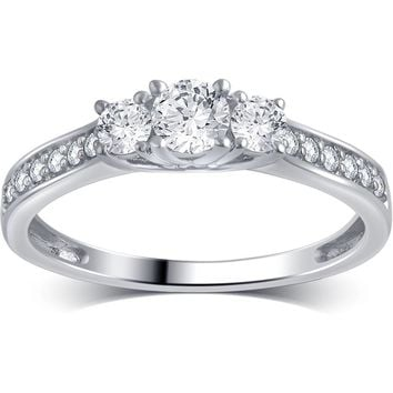 1/2 Carat T.W. Round Diamond 10kt White Gold 3-Stone Plus Engagement Ring, I-J/I2-I3