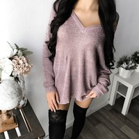 PREORDER - BEA OVERSIZED KNIT SWEATER (BLUSH)