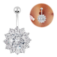 14G belly Button ring Rhinestone navel piercing ring cute belly ring 2013 fashion bijoux jeweled navel piercing ring FR374-1