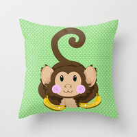 Cute Monkey Throw Pillow by Sampsonknight