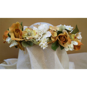 Autumn fall bridal floral head wreath renaissance faerie costume wedding flowers