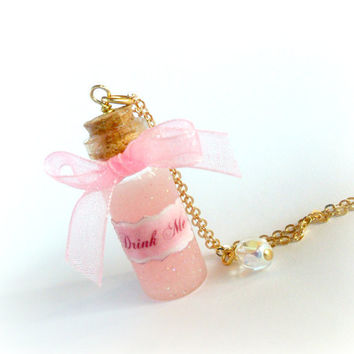 Alice In Wonderland Pink Drink Me Bottle Charm Necklace, Rose Gold Plated, Cute, Kawaii :D