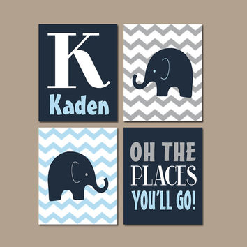 ELEPHANT Wall Art CANVAS or Prints Baby Boy Nursery Elephant Wall Art Navy Blue Boy Elephant Nursery Bedroom Chevron Oh The Places Set of 4