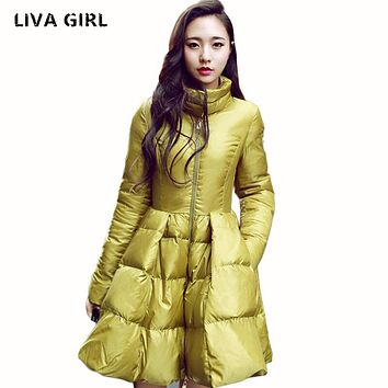 Liva Girl New Fashion Women Winter Down Jackets Warm Long Slim Coat And Jacket Female Big Swing Yellow/black Ladies Snow Outwear