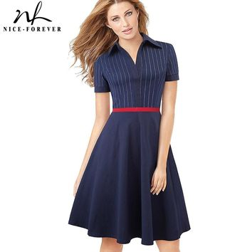 "Nice-forever Retro Red Stripes Patchwork vestidos 1950""s Turn-Down Collar A-Line Pinup Business Women Party Flare Dress A080"