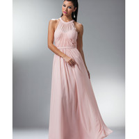 Blush Pink Grecian Chiffon Evening Gown