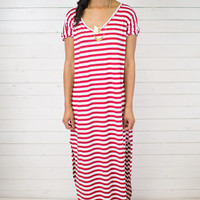 Red Lolly Stripe Maxi Dress