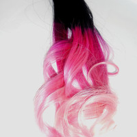 Any Color to Pink/Pastel Pink Ombre Hair Extension -  Full Set Weft Clip Extensions - Ombre