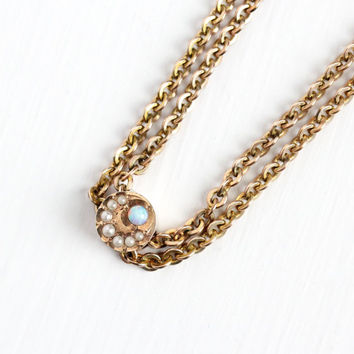 Antique 10k Star Moon Opal Pearl Round Slide Charm Necklace - Vintage Victorian Fob Pocket Watch Chain Layered Gold Filled Jewelry