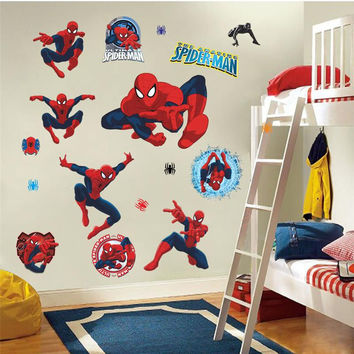 Movie character 3d cartoon Spiderman Wall Stickers for Kids Rooms Wall decals Home Decor wallpaper Mural For Boys' Room SM6