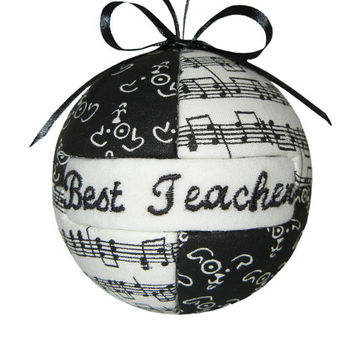 Best Teacher Quilted Fabric Christmas Ornament Black and White Sheet Music Notes Tree Decoration Holiday Home Decor by CraftCrazy4U