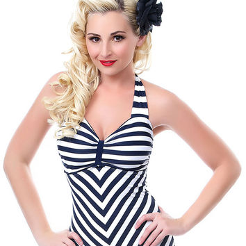 Unique Vintage Navy & White Striped Dinah One Piece Swimsuit