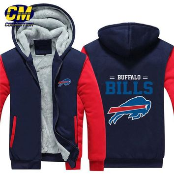 NFL American football winter thicken plus velvet zipper coat hooded sweatshirt casual jacket Buffalo Bills