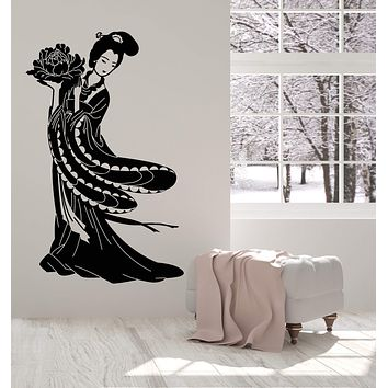 Vinyl Wall Decal Geisha Beautiful Japanese Girl Art Asian Style Stickers Unique Gift (1385ig)