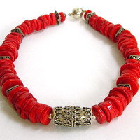 Red Necklace, Coral Choker, Sterling Silver, Red Coral Necklace, Handcrafted Necklace, Short Red Necklace, Coral and Silver, Unique Necklace