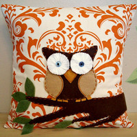 Owl Pillow Cover Appliqued Throw Pillow 16x16 Accent Decorative Couch Bed Decorator Weight Fabric Ivory Sweet Potato Orange Traditions