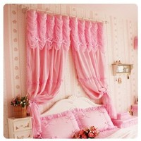 "Diaidi Rural Romantic Pink Window Curtain, Princess Korean Curtain for Living Room, Bedroom, Luxury Girls' Room Curtain, Wedding Curtain Drape/Panels/Treatment, Shabby Chic, Solid Color, 2 Pcs (98.4""w X 98.4""h)"