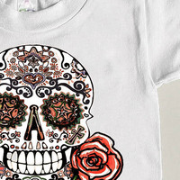 Childs Top Western Tattoo Skull Southwestern Mexican Sugar Skull tshirt unisex Hipster tee shirt 3T 4T 5 6 7 Cotton Boho Trendy clothing