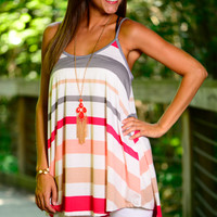 Stripe Me Down Tank, Grey/Red
