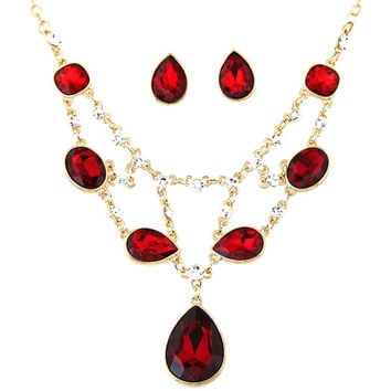Gold Plated Boutique Jewelry Sets For Women Bridal Jewelry Set African Beads Statement Necklace Earrings Set Jewelry