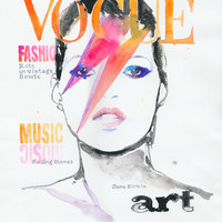 Archival Prints of Fashion Illustration, Watercolor Illustration of Kate Moss, cover of Vogue Magazine, Kate and Bowie