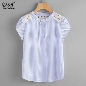 Dotfashion Blue Eyelet Embroidered Lace Petal Sleeve Blouse Short Sleeve Striped Button Top Summer Women Blouse