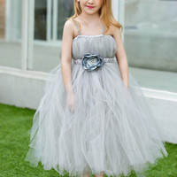 BH-141 Hot Sale Ball Gown Flower Girl Dresses 2017 First Communication Dress Spaghetti Straps Kids Prom Gown For Weeding Party