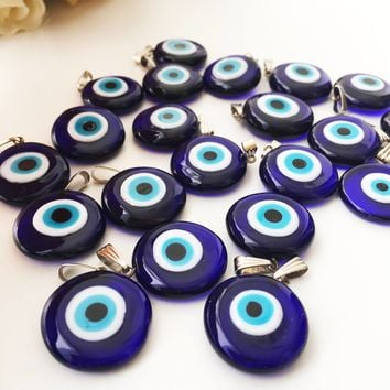 Evil eye beads, blue evil eye charm, murano glass beads, evil eye charm for necklace