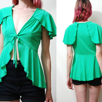 70s Vintage GREEN Blouse FLARE Ruffle Top ANGEL Sleeve T-shirt Hippie Boho Bohemian 1970s vtg S M