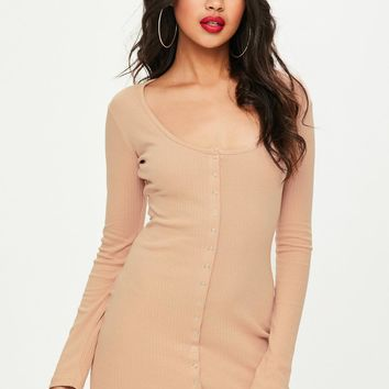 Missguided - Nude Ribbed Popper Mini Dress