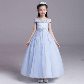 2017 Summer Girls Dress Children's Clothing Party Princess Baby Kids Flower girl Wedding Dresses Prom Dress Teen Costume