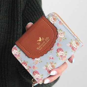 Japan's Rural Style Women Wallets  Floral Print  Sweet Lady Carteira  Hasp  Coin Purse Wallets  Card Holder