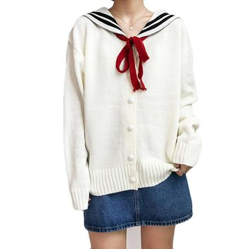 Harajuku Kawaii Women Sweaters and Cardigan Letter Ladies Knitwear Loose Winter Preppy Style Outwear 2SWT1092