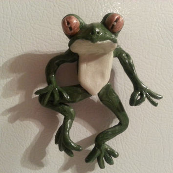 OOAK Clay Frog Figurine -- polymer clay sculpture -- Bathroom Buddy