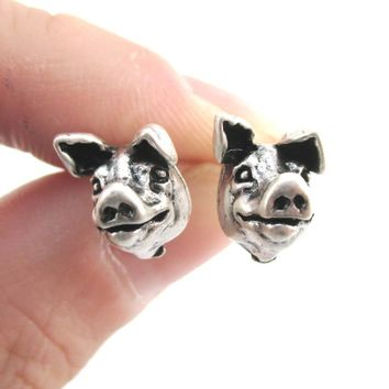 Realistic Piglet Pig Face Shaped Stud Earrings in Silver | Animal Jewelry