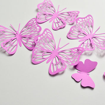 12 Orchid 3D Butterflies Stickers, Paper Butterfly Wall Art, 3D Paper Wall Butterfly Decoration, Butterfly Birthday Decor, Butterflies Decal