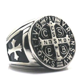 Men CSPB CSSML NDSMD Saint Benedict of Nursia Catholic Church Christianity Jesus Exorcism SilverCross Ring 316L Stainless Steel