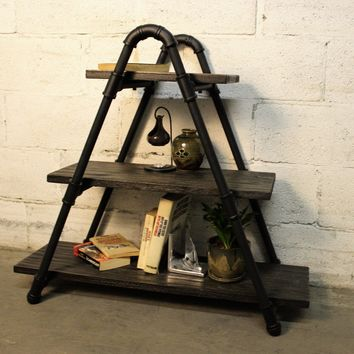 Charleston Industrial Chic Display Bookcase In Black Steel Combo With Dark Brown Stained Wood